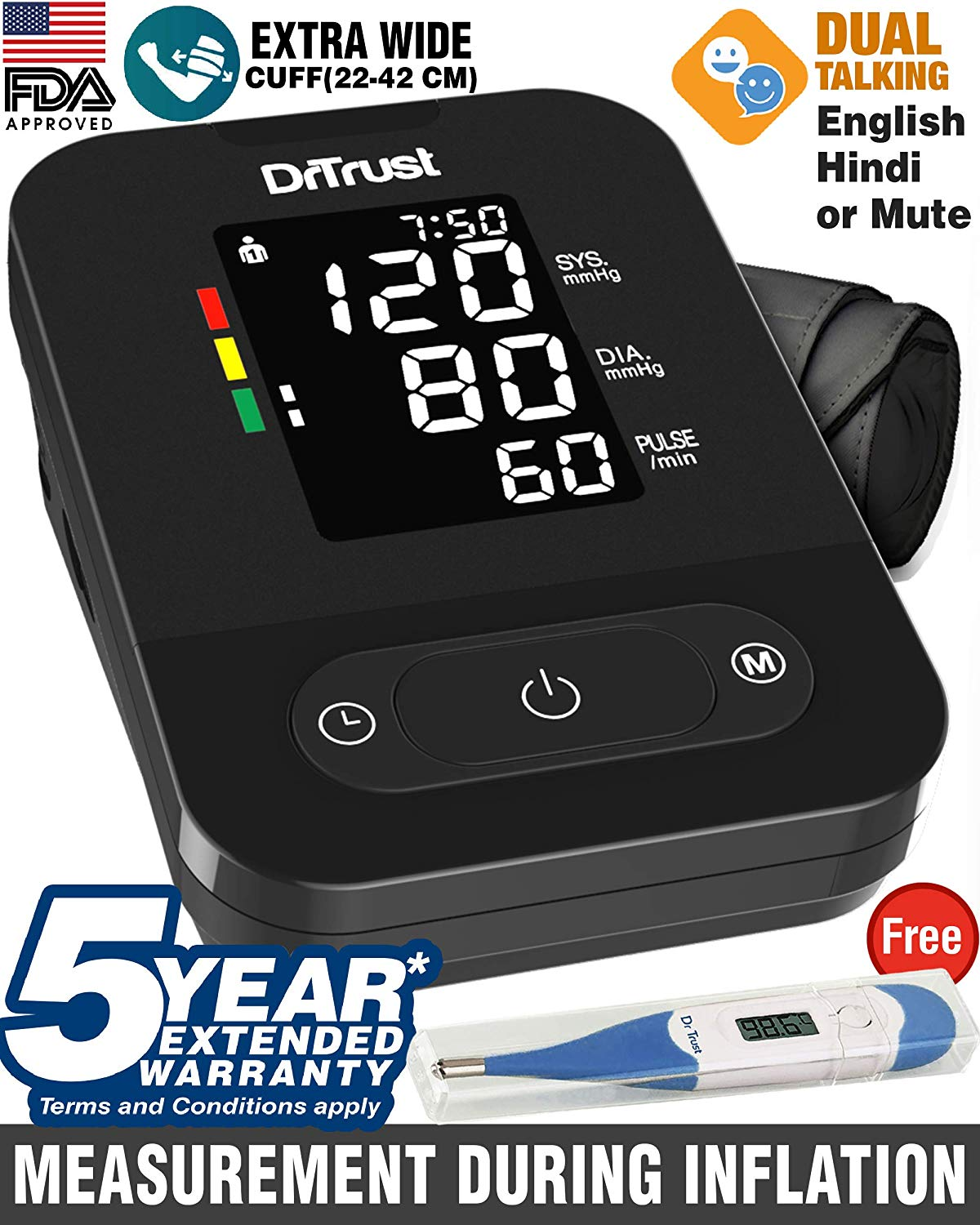 Dr Trust USA Blood Pressure Monitor Dual Language Hindi English Talking BP monitor